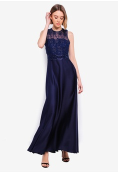 4297fdce1481 Little Mistress Navy Emb Maxi S  166.90. Sizes 6 8 10 · Goddiva navy High  Neck Embellished Maxi Dress D5633AA77D52F1GS 1