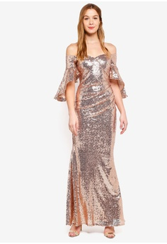3ef1d0d508df Goddiva pink Sequined Off Shoulder Flutter Sleeve Maxi Dress  972A0AA00621E2GS 1