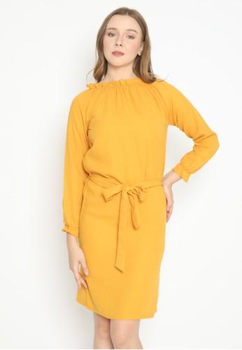 MINEOLA yellow MINEOLA Ruffle Neck Dress 5A217AA85C95F5GS_1