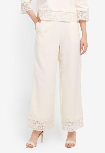 Zalia white Lace Trm Palazzo Pants CDC20AA6E03DBDGS_1