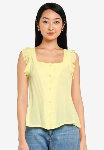 ZALORA BASICS yellow Flutter Sleeves Square Neck Top 5E32DAAC3C221BGS_1