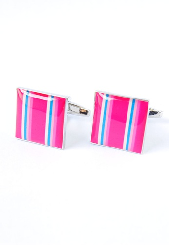 Splice Cufflinks pink Pink Stripes Square Cufflinks SP744AC82YEBSG_1