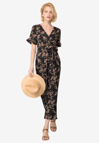 Kodz black and multi Floral Print Jumpsuit 4626BAA7211D45GS_1
