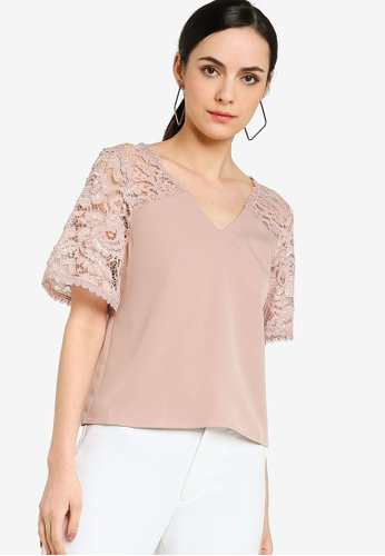 ZALORA WORK pink Lace Panel Short Sleeves Top 7D940AA640A500GS_1