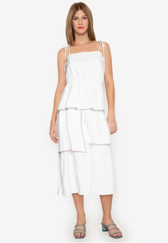ZALORA BASICS white Contrast Trim Tiered Midi Dress 7AC85AAC9F27A8GS_1