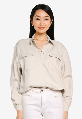 ONLY grey Giselle Life Long Sleeves Oversize Shirt B168AAA331CC78GS_1