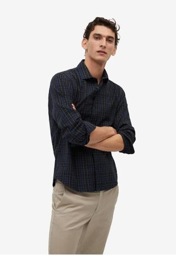 Mango Man blue Regular Fit Checked Flannel Shirt 927E2AA37B5DC7GS_1