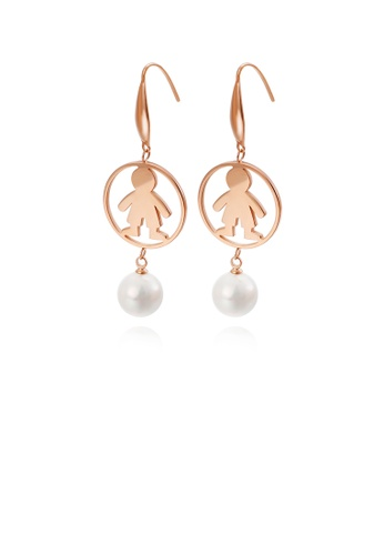 Glamorousky white Simple and Cute Plated Rose Gold Round Boy 316L Stainless Steel Earrings with Imitation Pearls 8125CAC215831DGS_1