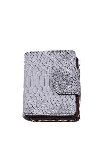 Twenty Eight Shoes grey VANSA Serpentine Pattern Embossed Cow Leather Bi-Fold Wallet VBW-Wt60303 AC289AC321A55EGS_1