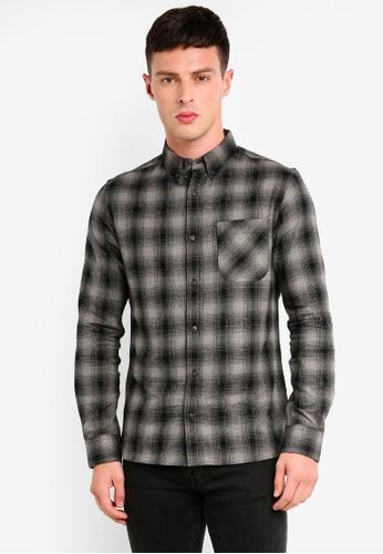 Burton Menswear London 灰色 長袖格紋襯衫 07508AAB4996D9GS_1