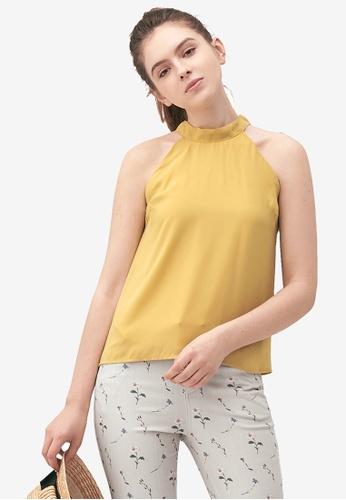 Kodz yellow Ribbon Tie Halterneck Top 7F98FAA27E5C60GS_1