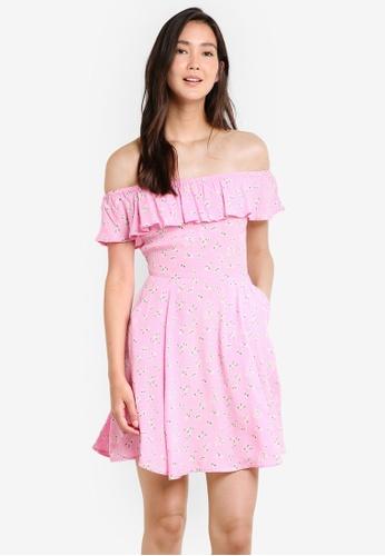 Miss Selfridge pink Pink Floral Bardot Skater Dress MI665AA67GPOMY_1