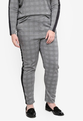 Only CARMAKOMA black Plus Size Checkered Trousers 40388AA6C5451BGS_1