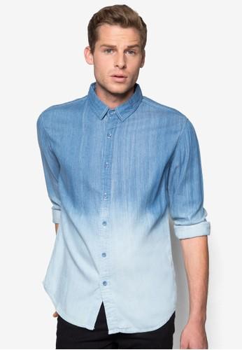漸層水洗丹寧襯esprit 請人衫, 服飾, 素色襯衫