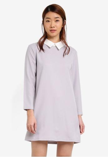 ZALORA grey Contrast Collared Dress 82600AAEB4B866GS_1