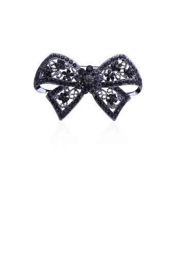 Glamorousky black Fashion and Elegant Ribbon Brooch with Black Cubic Zirconia D9850AC2F70541GS_1