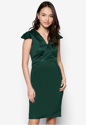 Eesprit分店va V 領蓋袖修身連身裙, 服飾, 洋裝