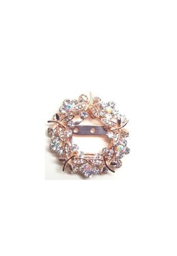 Loveaisyah multi Brooch round clear crystal & faux diamond Flower 55A95ACCC32040GS_1