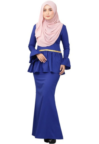 Kurung Peplum Marisa (AEPM02 Royal Blue) from ANNIS EXCLUSIVE in Blue