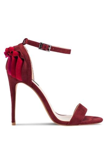 ZALORA 紅色 Ruffle 高跟鞋 8511CSHC45B15DGS_1