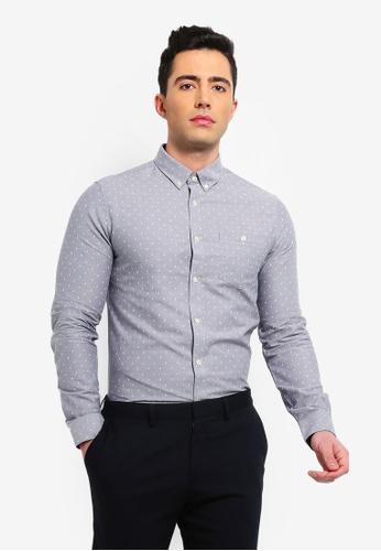 79fb8e852c1 Burton Menswear London grey Grey Long Sleeve Oxford Arrow Print Shirt  221AAAA4791FD0GS 1