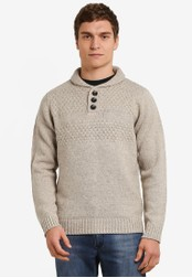Burton Menswear London 米褐色 Ecru Knitted Jumper BU964AA0S7ENMY_1
