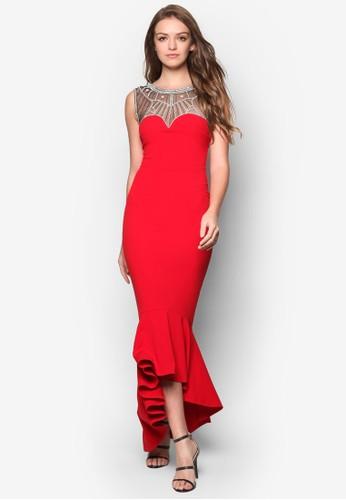 閃飾網紗魚尾長洋裝, 服飾, 服zalora 折扣碼飾