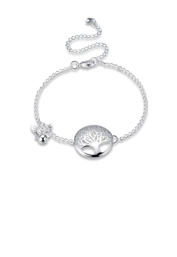 Glamorousky silver Fashion Elegant Tree Of Life Butterfly Anklet 9BB3EAC0C0C6E6GS_1