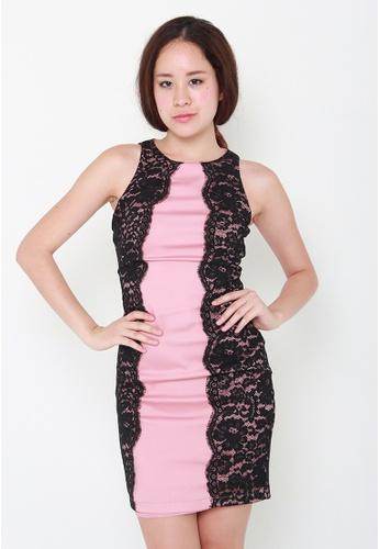 Leline Style black and pink Jessa Lace Dress LE802AA16HNVSG_1