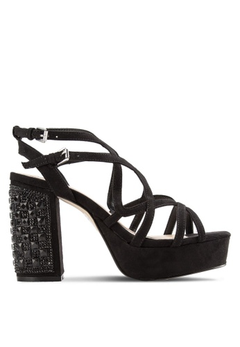 Miss Selfridge black Chase Platform Jewel Heel Sandals MI665SH40YNFMY_1