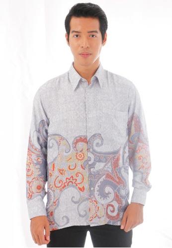 KAMDAR grey Aathif Batik Shirt C2AB4AA28FB1E6GS_1