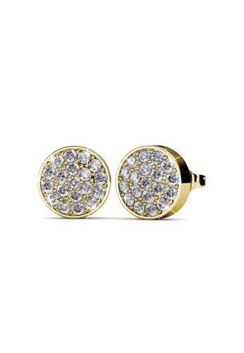 Her Jewellery gold Round Earrings (Yellow Gold) -  Embellished with Crystals from Swarovski® 1F351AC137AD8BGS_1