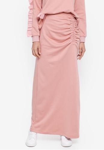 Zalia pink Gathered Skirt D83E6AA297F1DBGS_1