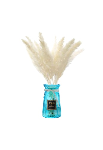 Propstation Ornamental Dried Preserved Pampas Grass White in Blue Glass Vase 8A024HL47AE6B1GS_1