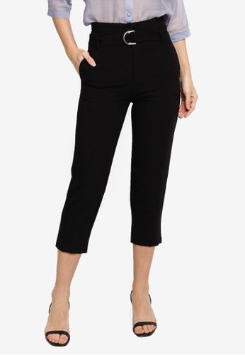 Hopeshow black Cropped Slim Fit Pants With D-Ring Belt 88E49AA066F625GS_1