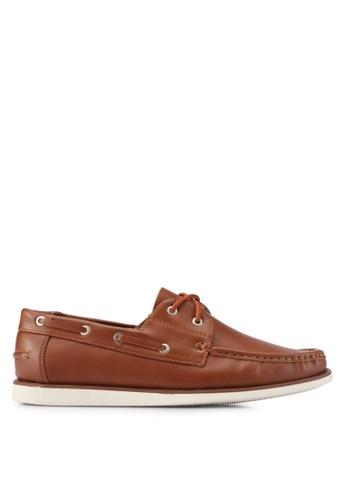 ZALORA brown Essential Faux Leathe Boat Shoes 6931ESH20A74C4GS_1