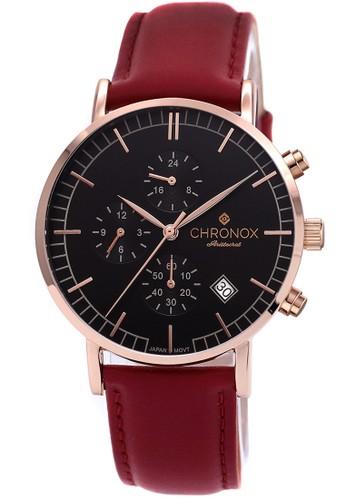 Chronox CX1004/C4 - Jam Tangan Pria - Tali Kulit Merah - Hitam Rosegold