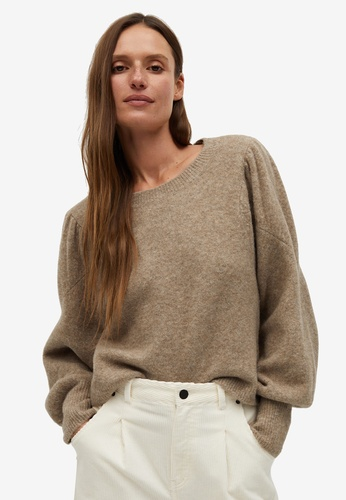 Mango brown Puffed-Shoulder Sweater FC153AA07D72EAGS_1