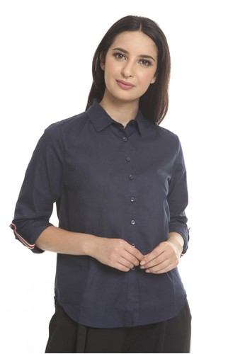 et cetera navy Roll up sleeve shirt with contrast tape CA648AA57A3F5BGS_1