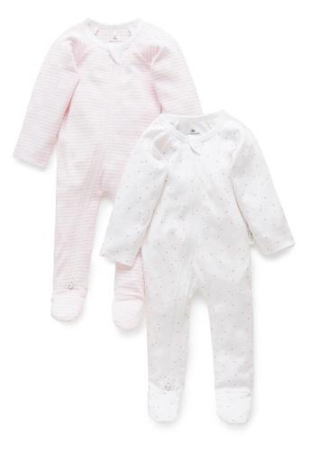 Purebaby pink 2 Pack Zip Growsuit 92807KA6D62288GS_1