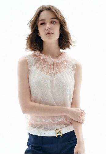 iROO pink Sleeveless Lace Top 6BA3DAA719FA1BGS_1