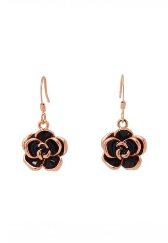 Jaysa Collection gold Rose Gold Black Petals Earrings JA875AC0FKLXSG_1