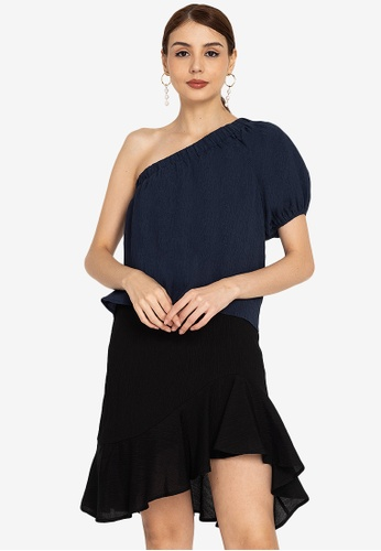 ZALORA OCCASION blue Textured One Shoulder Top C6104AA1D71A7BGS_1