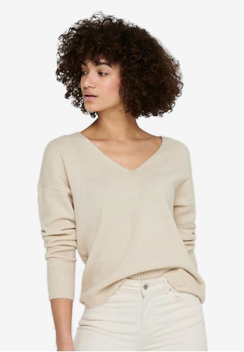 JACQUELINE DE YONG beige Elanora Long Sleeve V-Neck Pullover AC060AA7C0CFE5GS_1
