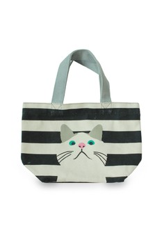 Cat On Marine Border Lunch Tote Bag