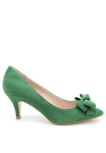 PRODUIT PARFAIT green Suede Bow Stiletto Heel Pumps 49778SH3FD0426GS_1