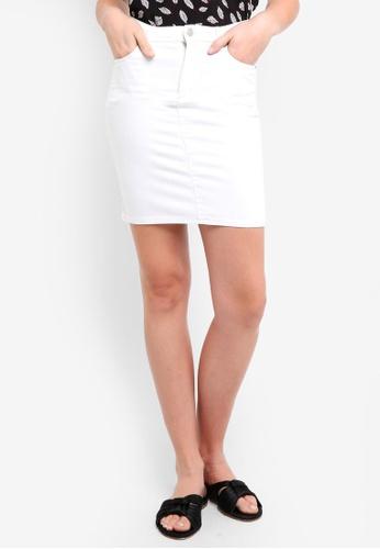ZALORA BASICS white Denim Skirt 1921EAA71DB319GS_1