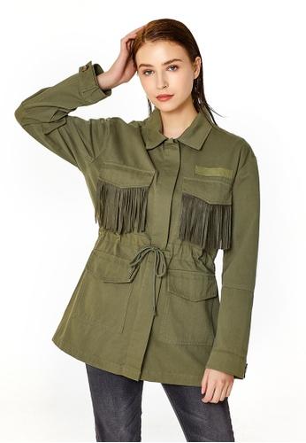 London Rag green Khaki Womens Cotton Jacket with Frills 4FC9FAA6774629GS_1