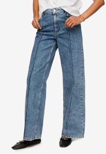 Mango blue Wide-Leg Jeans With Decorative Seams AB4A8AA60F103CGS_1