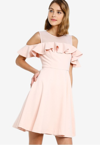 af6d026920d Buy French Connection Alissia Flare Cold Shoulder Dress Online on ZALORA  Singapore